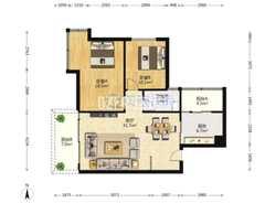 (城区)中心广场2室2厅1卫89m²精装修